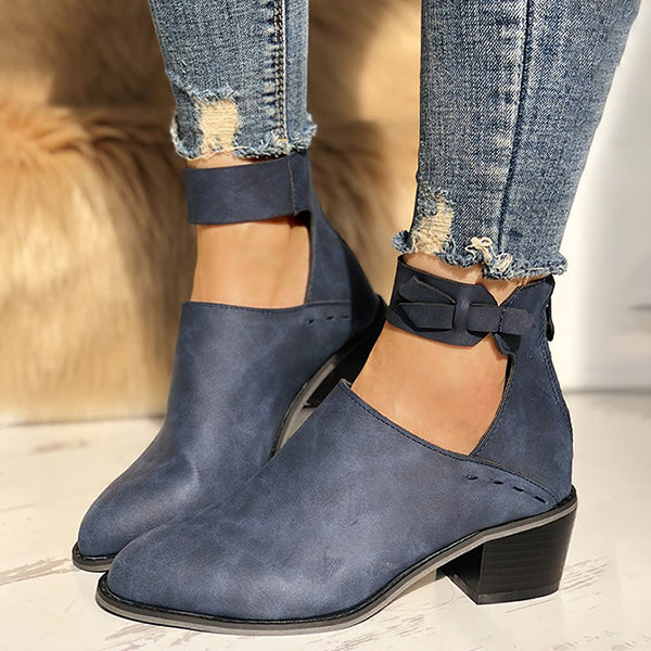 Remishoes Women Chunky Heel Booties Daily Zipper Boots