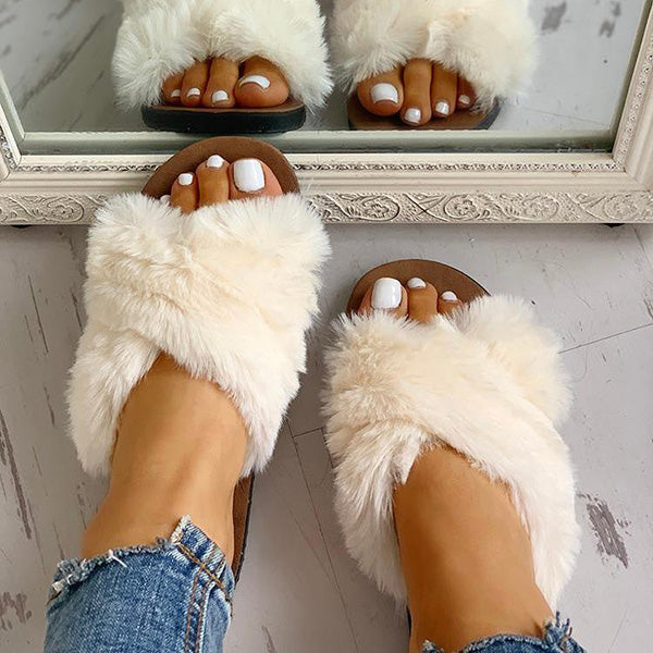 Remishoes Fluffy Design Crisscross Detail Flat Slippers