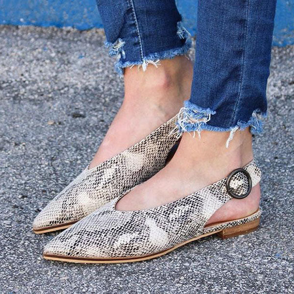 Remishoes Fashion Hollowed-Out Back Ankles Buckle Snakeskin Pointed Toes Sandals