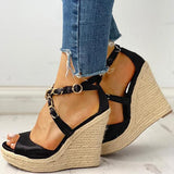Remishoes Chain Detail Espadrille Wedge Sandals