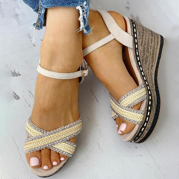 Remishoes Braided Detail Platform Wedge Sandals