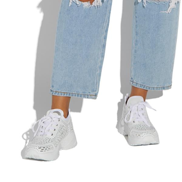 Remishoes Women Fashion Embellished Chunky Sneakers