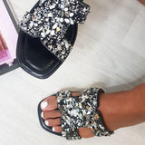 Remishoes Open Toe Embellished Slip On Slippers