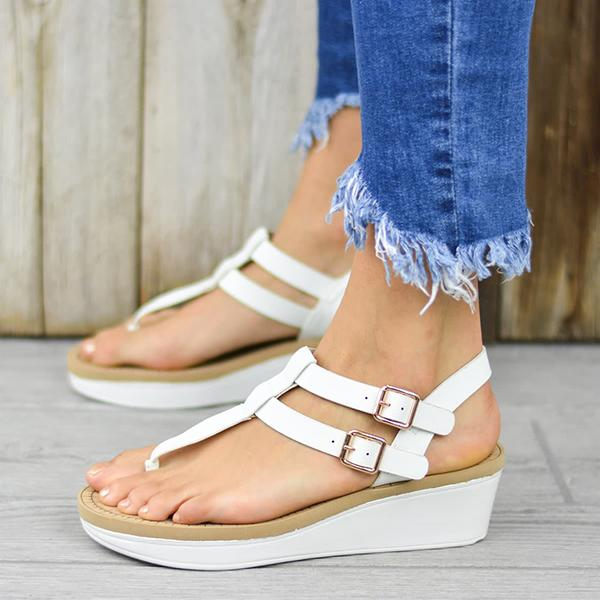 Remishoes Adjustable Buckle T-Strap Wedge Sandals