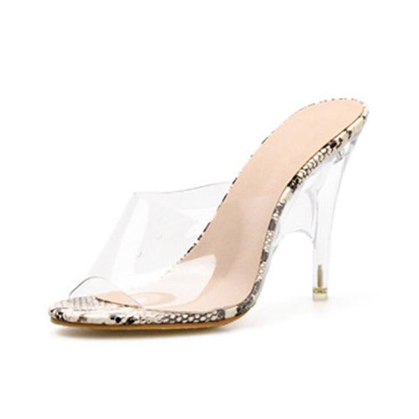 Remishoes Transparent Single Strap Slip-On Thin Heeled Sandals