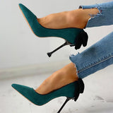 Remishoes Suede Pointed Toe Bowknot Back Thin Heels