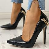 Remishoes Pointed Toe Metal Chain Thin Heels