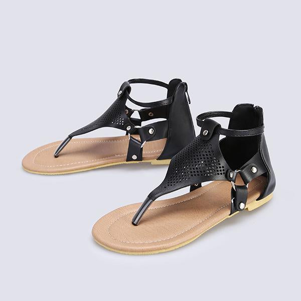 Remishoes Casual Open Toe Zipper Flat Sandals