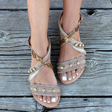 Remishoes Stylish Open Toe Strappy Flat Sandals