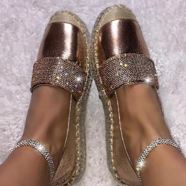 Remishoes Woman Fashion Solid Color Rhinestone Shoes