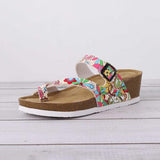Remishoes Printed Flip-Flops Beach Slippers Buckle Summer Pu Slippers