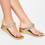 Remishoes Contrast Color  Slip On Wedge Sandals