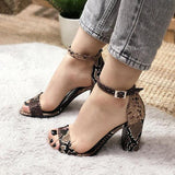 Remishoes Women Summer Sexy Snake Print Sandals Chunky Heels