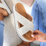 Remishoes Woven Flatform Diamante Cross Slippers