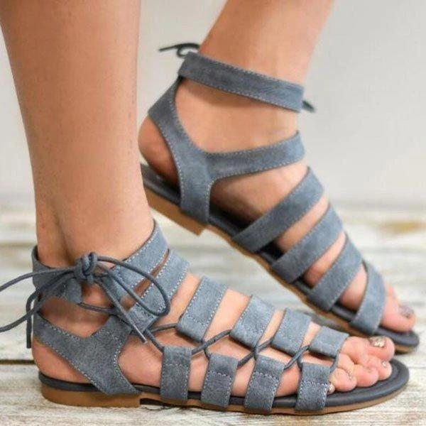 Remishoes Summer Casual Lace Up Flat Sandals