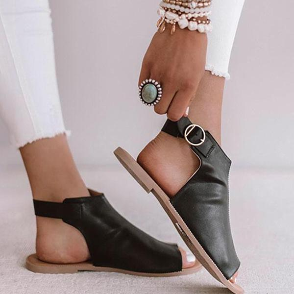 Remishoes Ring Buckle Peep Toe Ankle Strap Flat Sandals