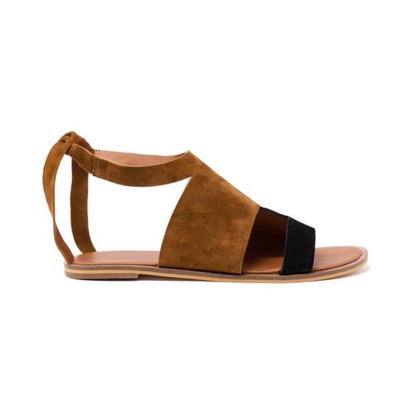 Remishoes Hollow-Out Flat Heel Daily Suede Flat Sandals