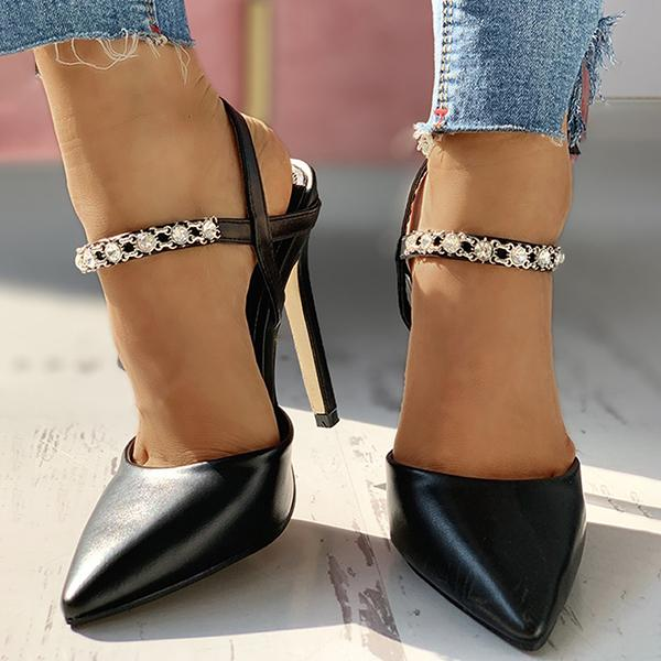 Remishoes Pointed Toe Ankle Buckled Sandals Studded Stiletto Heels