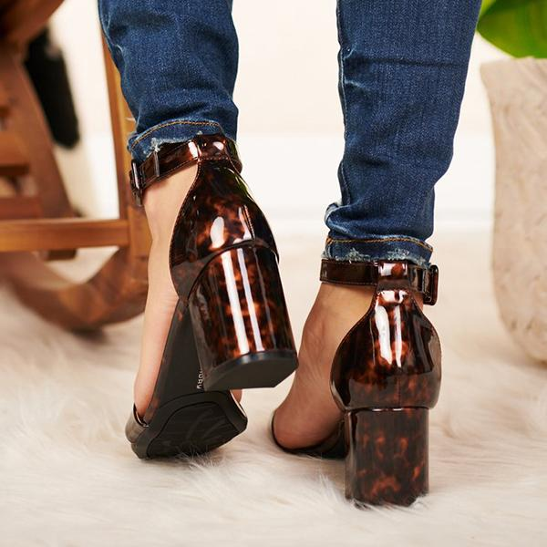 Remishoes Brown Adjustable Buckle Heeled Sandals