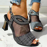 Remishoes Women Mesh Hollow Out Rhinestone Chunky Sandals