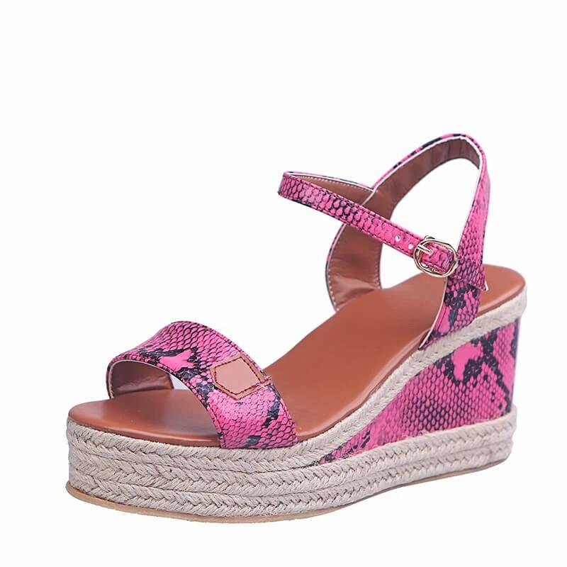 Remishoes Women Braided Split Joint Buckle Strap Wedge Sandals