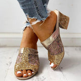 Remishoes Sequins Mesh Chunky Heeled Sandals