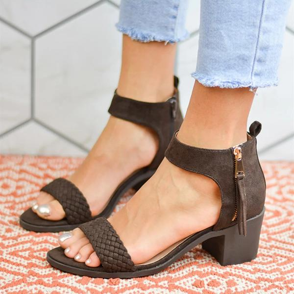 Remishoes Casual Daily Zipper Low Heel Sandals