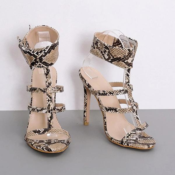 Remishoes Women Summer Sexy Snake Print High Heels