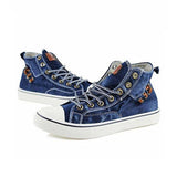 Remishoes Women High Top Canvas Sneakers Denim Shoes