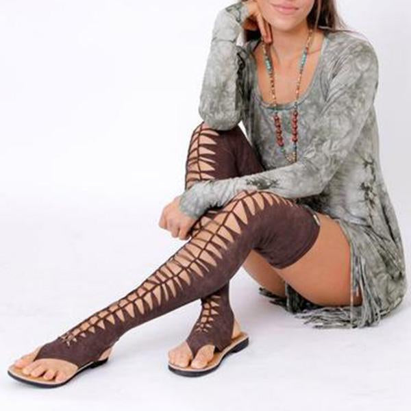 Remishoes Womens Extra Long Black Gladiator Sandals