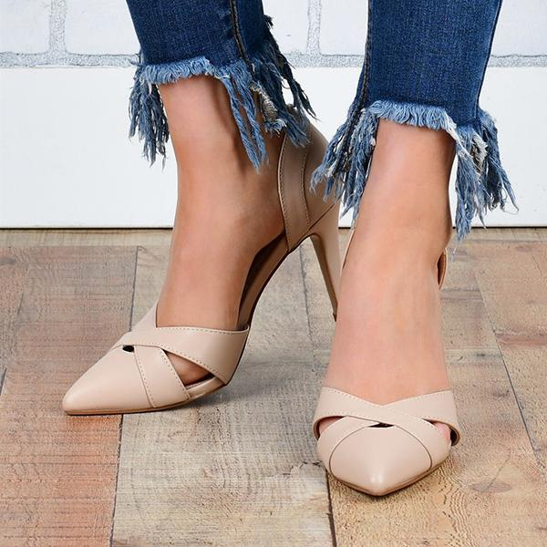 Remishoes Faux Leather Classic Crisscross Heels