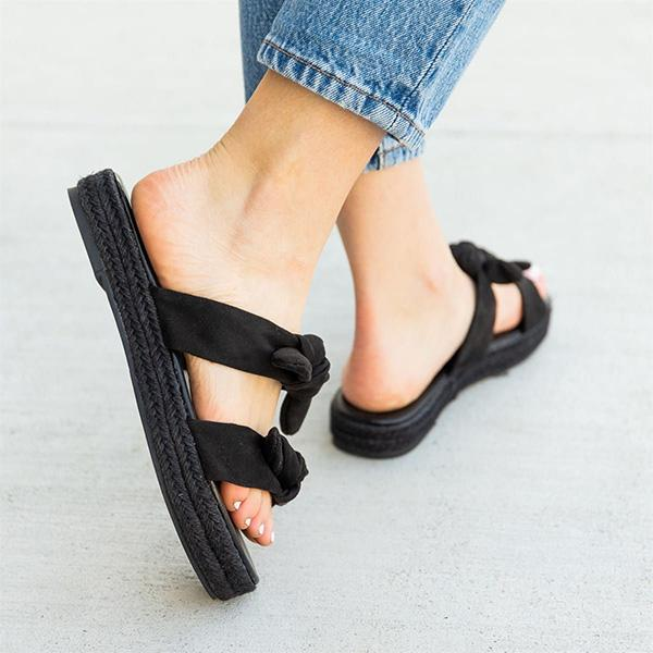 Remishoes Daily Casual Double Bow Espadrille Slippers