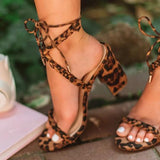 Remishoes Women's Fashion Leopard Lace Up Heeled Sandals