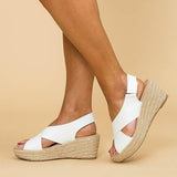 Remishoes Women Peep Toe Magic Tape Wedges Crossed Sandals