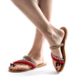 Remishoes Women's Slippers Flat Heel Vintage Red Sandals