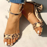Remishoes Leopard Open Toe Chunky Heeled Sandals