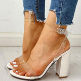 Remishoes Transparent Strap Chunky Heeled Sandals