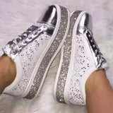 Remishoes Fashion Rhinestone Flat Lace Up Women's Singles Shoes