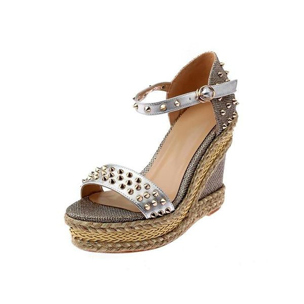 Remishoes Chic Rivet Heidy Wedge Sandals