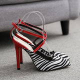 Remishoes Pointed Zebra Pattern Hollow High Heels