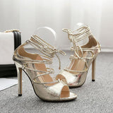 Remishoes Snakeskin Lace-Up Thin Heeled Sandals