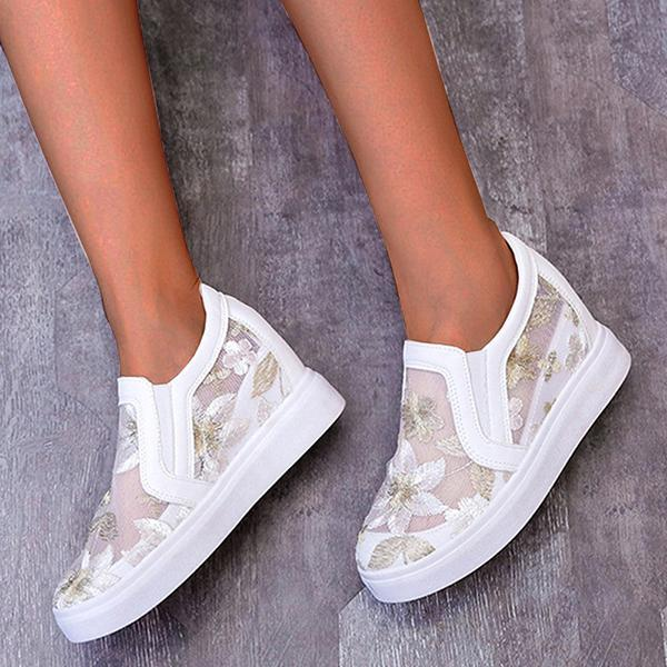 Remishoes Women Lace Hollow Out Height Increasing Wedge Shoes