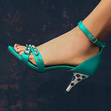 Remishoes Adjustable Buckle Cone Heel Rivet Heels