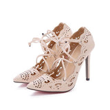 Remishoes Pointed Openwork Strap Sexy High Heel Pumps