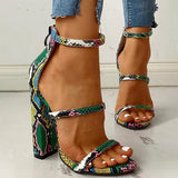 Remishoes Snake Buckle Sandals With Belt Buckle