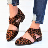 Remishoes Tan Leopard Wing Crisscross Sandals