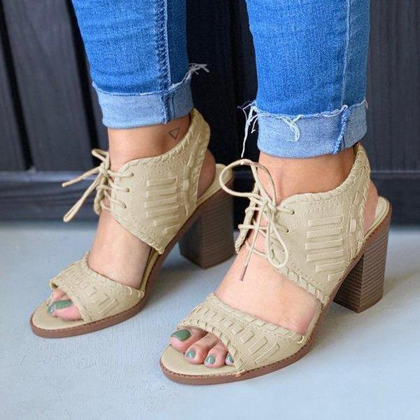 Remishoes Women Lace-Up Chunky Heels Ankle Back Sling Sandals