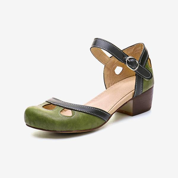 Remishoes Women Vintage Hollow Buckle Strap Chunky Heel Sandals