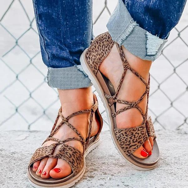 Remishoes Women Casual Retro Leopard Flat Heel Sandals