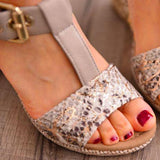 Remishoes Wedge Heel Adjustable Buckle Artificial Suede T-Strap Sandals